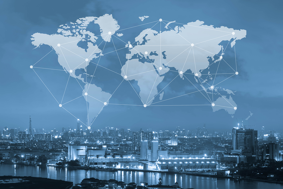 City with world map and conneting line globalization conceptual industrial network communication concept